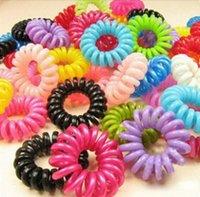 Barato En Stock Colorful cable telefónico titulares elástico Ponytail Anillo Cabello Scrunchies para la muchacha de la goma corbata gratis Accesorios para el cabello de envío