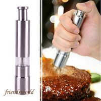 Wholesale New Arrive Pepper Mills Stainless Steel Thumb Push Salt Pepper Grinder Spice Sauce Mill Grind Stick Tool