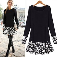 Flora Printed Dresses tunic tops - PLUS SIZE Women Long Sleeve Floral Blouse Bodycon Party Mini Dress Top Tunic