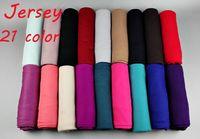 plain jersey - 21 color High quality jersey scarf cotton plain elasticity shawls maxi hijab long muslim head wrap long scarves scarf
