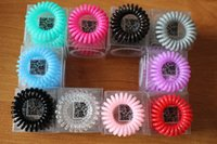 Wholesale Telephone Wire Line Cord Invisi Bobble Traceless Hair Ring Gum Colored Elastic Hair Band For Girl Hair Scrunchy DHL Free