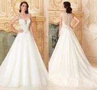 Wholesale Elegant Sheer Long Train Vinatge Ball Gowns Crystal With Lace Formal Cheap Sexy Bridal Party Dress Appliques Wedding Dress