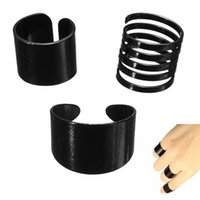 Cheap 3 Pcs New Fashion Ring Set Black Stack Plain Above Knuckle Ring Band Midi Rings Jewelry Punk Drop Shipping