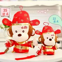 0-12 Months baby doll companies - new style Chinese zodiac make a fortune monkey red mascot plush toys baby toys cloth doll new year gift for party company