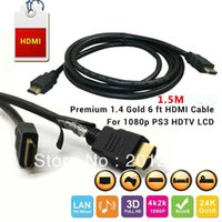 Cheap 1.5M Premium 1.4V HDMI to HDMI Cables Connector Adapter Gold Plated Kabel Cabo for 1080p PS3 HDTV LCD Free Shipping