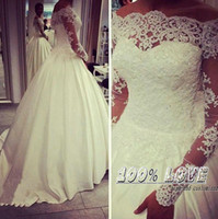balls cross - Real Image Spring Wedding Dresses With Lace Applique Beads Summer Bridal Gowns Bateau Neck Illusion Long Sleeves Arabic Wedding Gowns
