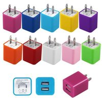 Wholesale Universal mobile phone dual usb port wall charger USB charger charging double head filling power adapter color colors
