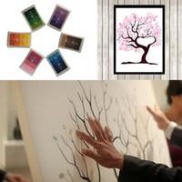 Wholesale Fingerprint Tree DIY Signature Guest Book Colors Ink Pad Set for Wedding Party Graduation Painting Size S L