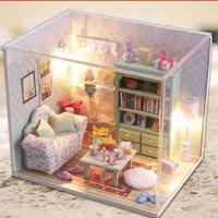 Wholesale Kits DIY Wood Dollhouse Sofa Miniature With LED Furniture cover Magic Gift