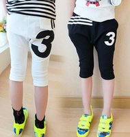 knit pants - For Big Girls Clothes Girl Short Pant Kids Pants Shorts Summer Casual th Pants Letter Knits Children Clothing Black White I3296