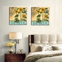 balcony design pictures - New Classic Ancient design sunflower decorative oil painting prints on canvas Balcony stairs decor pictures unframed OM183