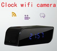 Wholesale Newest Wifi P Hidden Spy Digital Cam P2P IP Camera Alarm Clock Mini Camcorders HD Deg with Night Vision Black support IOS Android APP