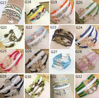 owl bracelet - 44 styles bracelet leather charm bracelets for women and men Anchor cross owl Branch love bird believe
