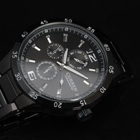 Wholesale 2014 new fashion watches men luxury brand full stainless steel black strap analog dial sports quartz wrist watch