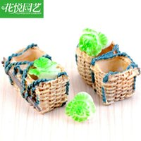 basket gift ideas - mini microlandschaft cute craft Moss micro landscape plants gift ideas zakka resin rattan baskets Decoration