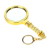 Wholesale 70mm X Golden Handheld Magnifier with Key Ring Portable Glass Loupe Magnifying Reading Tool magnifying glass loupe