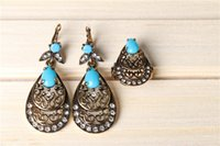 ancient sculpture - Teardrop shaped craft to do the old retro bohemian Ring Earrings Set hollow sculpture cheongsam ancient assembly