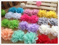 Wholesale 120pcs hair accessories flower for hairclp headwear baby flower for headband chiffon flowers baby accessories shabby flowers
