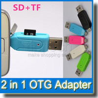 Wholesale SD Micro SD USB OTG Card Reader Universal Micro USB OTG TF SD Card Reader Micro USB OTG Adapter for Samsung S4 S5 S6 Android Cell Phone
