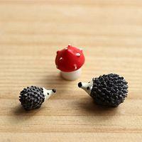 Resin animal stake - 3pc Hedgehog three piece Micro Landscape Bonsai Plant Garden Decor Stakes DIY Craft Decor Ornament