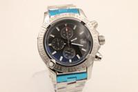 al por mayor reloj cronógrafo barato-caso 47 mm de regalo caja de plata caliente fecha de la promoción barato cronógrafo forman la venta nuevos hombres de la marca de relojes Relojes de acero inoxidable de los hombres reloj de pulsera