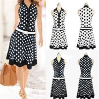 Wholesale 2015 New Vintage Women V neck Sleeveless Polka Dot Printed Knee length Chiffon Waisted Dress Summer Dresses