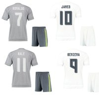 home kit - 15 Madrid home white soccer kits Ronaldo away grey short sleeve football uniform James men s athletic thai quality sports sets