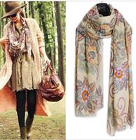 retail shawls - 2015 retail Womens Ladies Long Soft Chiffon floral Scarf Wrap Large Silk Winter Shawl Stole Scarves