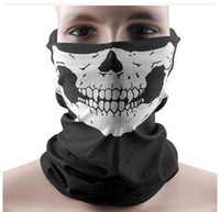 animal bike helmet - New Christmas Halloween Black Seamless Skull Face Tube Mask BUFF Cool Skull Bandana Bike Helmet Neck Face Mask Paintball Ski Sport Headband