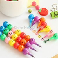 Wholesale Pen Stationery Colors Crayons Creative Sugar Coated Haws Cartoon Smiley Graffiti Best Selling