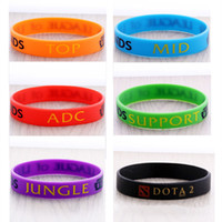 Vente au détail LOL GAMES Souvenirs 100% bracelet en silicone LIGUE de LEGENDS Bracelets avec ADC, JUNGLE, MID, SUPPORT, TOP, bande imprimée 200