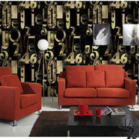 bar top moulding - Top Top Designer Wallpaper Rolls Creative Number Letter Wall Paper Living Room Commerce Music Party Bar Background Wall Decor AB5194