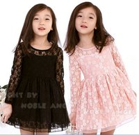 babies wear retail - New Spring Children Lace Dress Romance Sweet Baby Girl Lace Princess Dresses Pink And Black Dress For Kids Wear Retail GX649