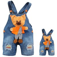 baby boy s jeans - S Baby Girls Boys Unisex Bear Denim Jeans One pieces Rompers Playsuit Kids Clothing Hotsale