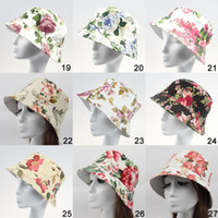 Wholesale fashion Women Casual Floral Printed Canvas Sun Hats Ladies Girls Fashion Travel Stingy Brim Hats Beach Caps