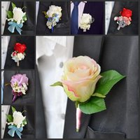 Cheap Romantic Wedding Decoraitve Boutonnieres Elegant Artificial rose Corsages Handmade Groom's Boutonniere For Wedding party supplies