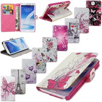For Note 3 PU Leather D Eiffel Tower PU Leather Protective Stand Wallet Card Slot Bag Plum Flower Heart Hard Cover Flip Case For Samsung Galaxy Note 3 N9000