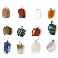 natural beads - 72pcs Crazy Sale Mixed Color Natural Gemstone Charm Pendant Beads Assorted Irregular Shape Stone Fit Pendant Necklaces Jewelry Findings