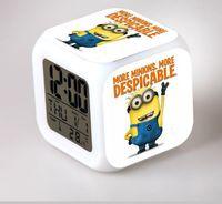 alarm pendant - DHL free wholesales LED Colors Change Digital cartoon Despicable me Alarm Clock Night Plastic luminous toys