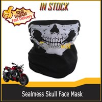 Wholesale Skull Half Face Neck Mask SkeletonTubular Bandana Morotcycle Bicycle Riding Driving Scarf Cycle Skiing Seamless Breathable Sports Headwear