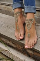 Wholesale Girl s Barefoot Anklet Crochet Cotton Ankle Chain Sandal Bracelet Foot Jewelry Stylish Barefoot Sandals Crochet Knit Foot Jewelry