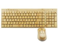 bamboo computer mouse - Real Top Fashion Stock Multimedia Keyboard Gamer Bamboo Keyboard And Wood Mouse Suit Wireless Computer Teclado