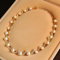 Wholesale Bridal Crystal Rhinestone Bracelet With Ring Wristband Finger Bracelet Wedding Party Prom Event Jewelry Pearl Crystal ZYY