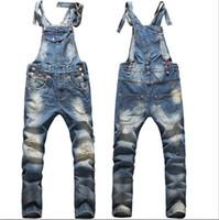 big mens work pants - New Fashion Big Boys Mens Ripped Denim Bib Overalls Large Size Rompers Men s Distressed Long Jean Jumpsuit Jeans Pants For Men Work