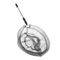 Cheap New 2in1 Micro Mesh & Aluminum Fishing Folding Landing Net & Extending Foldable Pole Handle Carp Fishing Net Black