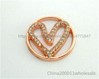 Wholesale 22mm Rose Gold Rhinestone Heart Floating Plates Fit mm Floating Charm Locket PL02