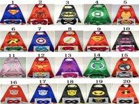 Wholesale 2pcs Set Superhero Cape Mask L70 W70CM Double Side batman superman cape mask Reversible Superhero Cape supergirl cape mask with mascot