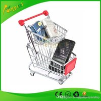 Wholesale Novelty double layer Cute Cart Mobile Phone Holder delicate Pen Holder Mini Supermarket office Handcart Shopping Utility Cart smoking pipe