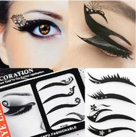Wholesale Cool Charm black eyeliner Sticker Eyeshadow Waterproof Smoky makeup with diamond gem for Nightclub party eye makeup Simple use