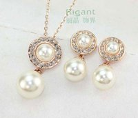 Wholesale 18K Gold Plated fashion crystal nacklace and earrings set Italina Rigant imitation pearl Jewelry Set wholesaleGift